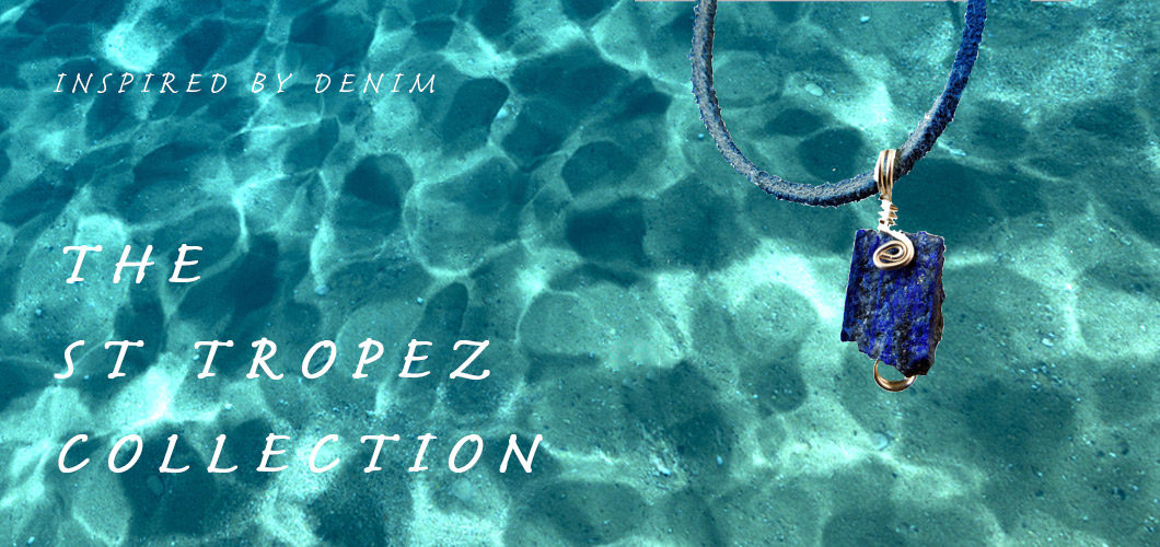 Image of Denim Lapi pendant over shallow rippling sea with the words