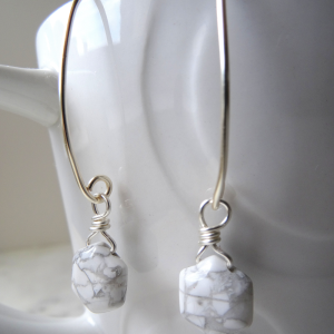 Image of handmade long-white-howlite-earrings-by Calico Rose Studio as worn SKU: CRS-2/023-4