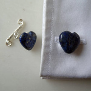 Image of Lapis Lazuli cuff links fitted into a french cuff. Handmade in the UK by Calico Rose Studio. SKU CRS: 1/127-2