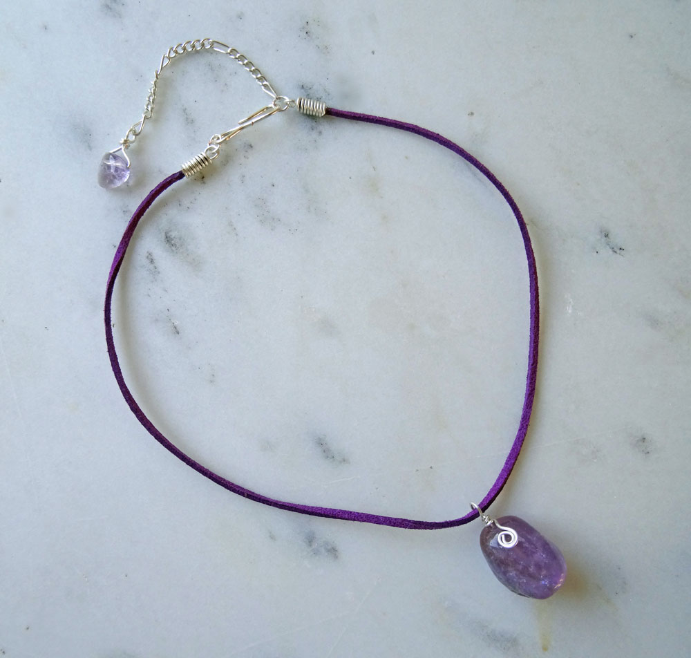 Raw Amethyst choker necklace – Calico Rose Studio