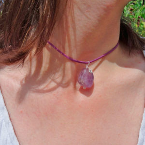 Image for lavender-amethyst-choker-necklace-Calico Rose Studio. Adjustable choker with raw Amethyst. SKU: CRS-2/007-1