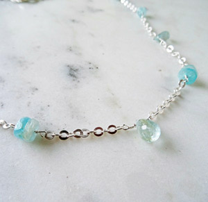 Photo of Aquamarine-necklace-with-chain-handmade-by-Calico-Rose-Studio-close-up
