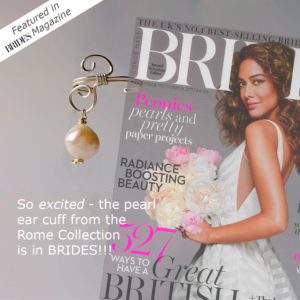Graphic showing cover of Nov/Dec issue of BRIDES magazine with Calico Rose Studio's handmade Pearl ear cuff