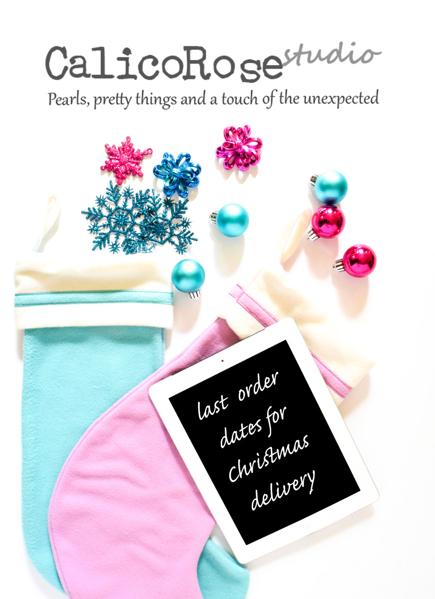 Photo of blue and pink baubles and christmas stockings with the message 'last order dates for Christmas delivery'